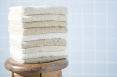 Stacked towels. Still life photography Stock Photos