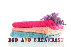 Towels with Lavender royalty free stock images