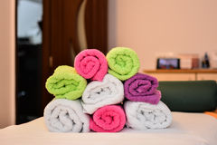 Stacked towels at massage saloon Royalty Free Stock Photography