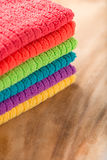 Stacked towels in rainbow colors Royalty Free Stock Images