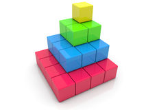 Stacked toy bricks in corner on white Royalty Free Stock Photography