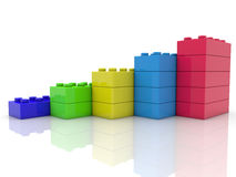 Stacked toy bricks in five colors Stock Photography