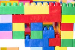 Stacked toy plastic building blocks. Colorful stacked toy plastic building blocks Stock Image