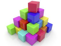 Stacked toys bricks in pyramid Royalty Free Stock Images