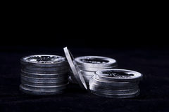 Stacked up silver coins. Royalty Free Stock Photo