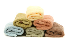 Stacked up spa / bath towels Stock Photo