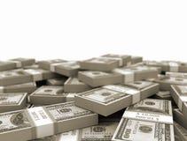 Stacked Us money bundles. Dollars bills stacked on white background vector illustration