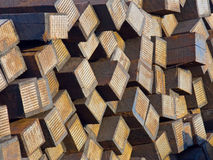 Stacked used railroad sleepers/ties Royalty Free Stock Photography