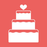 Stacked wedding cake dessert with heart topper flat color vector icon Royalty Free Stock Photography