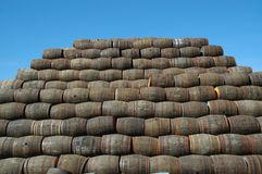 Stacked whisky barrels Stock Photo