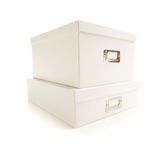 Stacked White File Boxed Isolated on Background Royalty Free Stock Image