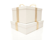 Stacked White Gift Boxes with Gold Ribbon Isolated Royalty Free Stock Photography
