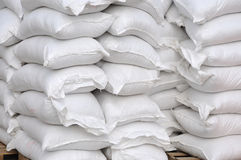 Stacked white sacks Stock Photo