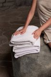 Stacked white spa towels Royalty Free Stock Photos