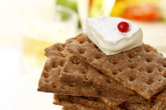 Stacked wholemeal crispbread with soft cheese and currant Royalty Free Stock Photography