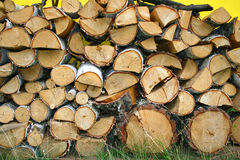 Stacked Winter Logs For Heatin Stock Image