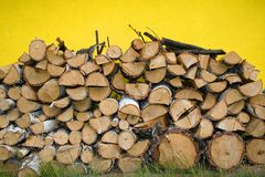 Stacked Winter Logs For Heatin Royalty Free Stock Image
