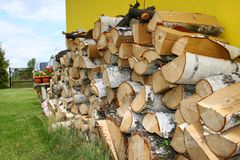 Stacked Winter Logs For Heating Royalty Free Stock Image