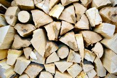 Stacked wood. Wood stacked with fresh wood Royalty Free Stock Image
