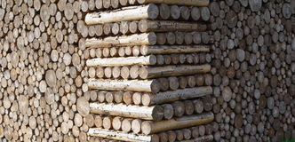 Stacked wood. Abstract art in Burghausen Royalty Free Stock Photo