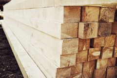 Stacked wood for construction Stock Photography