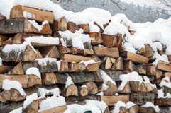 Stacked wood covered with snow. Background. Stock Photography