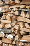 Stacked wood covered with snow. Background. Royalty Free Stock Images