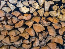 Stacked Wood Cut. Cross section of tree trunks background. Decoration of cutting tree. Cutting tree trunks placed together for interior decorate, background royalty free stock image