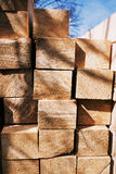 Stacked wood cut in squared timber Stock Photos
