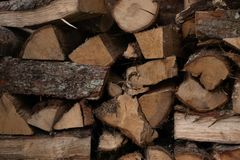 Stacked wood cut royalty free stock image