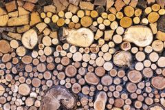 Stacked wood in different dimensions. As a firewood stock photography