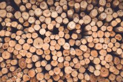 Stacked of wood log  for construction buildings background Stock Photos