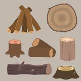 Stacked wood pine timber for construction building cut stump lumber tree bark materials vector illustration. Stock Photo