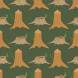 Stacked wood pine timber for construction building cut stump lumber tree bark materials vector seamless pattern Stock Photos