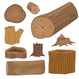 Stacked wood pine timber for construction building cut stump lumber tree bark materials vector set Stock Images
