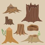 Stacked wood pine timber for construction building cut stump lumber tree bark materials vector set Royalty Free Stock Photos