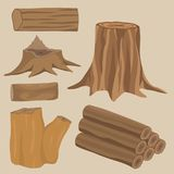 Stacked wood pine timber for construction building cut stump. Stacked wood pine timber for construction building cut lumber stump wood materials vector set Stock Images