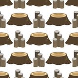 Stacked wood pine timber for construction. Building cut lumber stump wood materials vector illustration. Natural forest stack pile rough bark seamless pattern Stock Photos