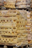 Stacked wood pine timber palette Stock Image