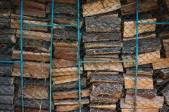 Stacked wood ready for the wood stove royalty free stock images