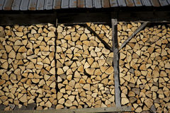 Stacked wood in shed Stock Photos