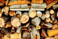 Stacked wood timber for construction Royalty Free Stock Images