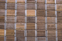 Stacked wooden apple crates. Wall of stacked wooden apple crates Royalty Free Stock Images