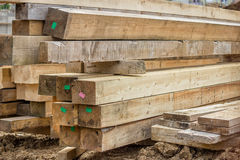 Stacked wooden beam as a building material Royalty Free Stock Photos