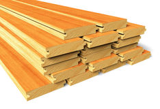 Stacked wooden construction planks Stock Photo