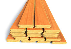 Stacked wooden construction planks Royalty Free Stock Photo