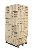 Stacked wooden crates on a pallet royalty free stock image