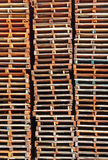 Stacked wooden pallet columns Royalty Free Stock Photos