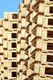Stacked wooden pallet under blue sky Royalty Free Stock Image