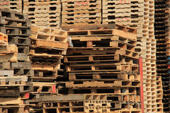 Stacked wooden pallets Royalty Free Stock Photo